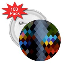 Diamond Abstract Background Background Of Diamonds In Colors Of Orange Yellow Green Blue And More 2 25  Buttons (100 Pack)