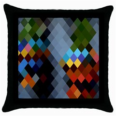 Diamond Abstract Background Background Of Diamonds In Colors Of Orange Yellow Green Blue And More Throw Pillow Case (black) by Nexatart