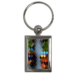 Diamond Abstract Background Background Of Diamonds In Colors Of Orange Yellow Green Blue And More Key Chains (rectangle)  by Nexatart