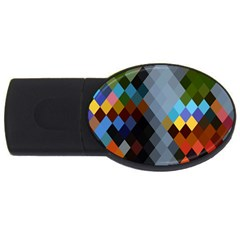 Diamond Abstract Background Background Of Diamonds In Colors Of Orange Yellow Green Blue And More Usb Flash Drive Oval (2 Gb) by Nexatart