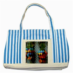 Diamond Abstract Background Background Of Diamonds In Colors Of Orange Yellow Green Blue And More Striped Blue Tote Bag by Nexatart
