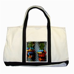 Diamond Abstract Background Background Of Diamonds In Colors Of Orange Yellow Green Blue And More Two Tone Tote Bag by Nexatart