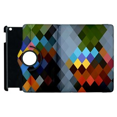 Diamond Abstract Background Background Of Diamonds In Colors Of Orange Yellow Green Blue And More Apple Ipad 2 Flip 360 Case by Nexatart