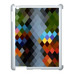 Diamond Abstract Background Background Of Diamonds In Colors Of Orange Yellow Green Blue And More Apple Ipad 3/4 Case (white) by Nexatart
