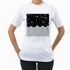 Black And White Waves And Stars Abstract Backdrop Clipart Women s T Shirt (white) (two Sided)