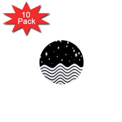 Black And White Waves And Stars Abstract Backdrop Clipart 1  Mini Magnet (10 Pack)