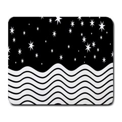Black And White Waves And Stars Abstract Backdrop Clipart Large Mousepads by Nexatart