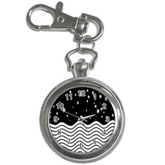 Black And White Waves And Stars Abstract Backdrop Clipart Key Chain Watches
