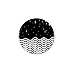 Black And White Waves And Stars Abstract Backdrop Clipart Golf Ball Marker (10 Pack) by Nexatart