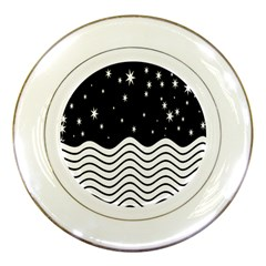 Black And White Waves And Stars Abstract Backdrop Clipart Porcelain Plates by Nexatart