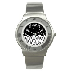 Black And White Waves And Stars Abstract Backdrop Clipart Stainless Steel Watch by Nexatart