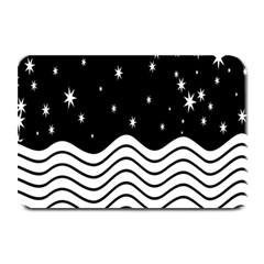 Black And White Waves And Stars Abstract Backdrop Clipart Plate Mats by Nexatart