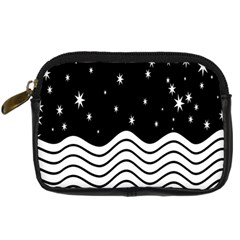Black And White Waves And Stars Abstract Backdrop Clipart Digital Camera Cases by Nexatart