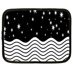 Black And White Waves And Stars Abstract Backdrop Clipart Netbook Case (xl)  by Nexatart