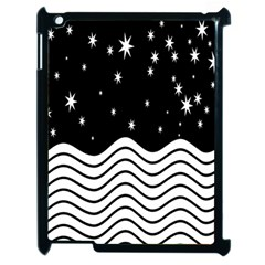 Black And White Waves And Stars Abstract Backdrop Clipart Apple Ipad 2 Case (black) by Nexatart
