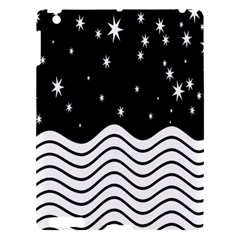 Black And White Waves And Stars Abstract Backdrop Clipart Apple Ipad 3/4 Hardshell Case by Nexatart