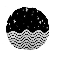 Black And White Waves And Stars Abstract Backdrop Clipart Standard 15  Premium Round Cushions
