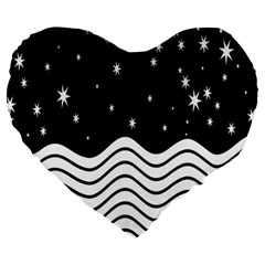Black And White Waves And Stars Abstract Backdrop Clipart Large 19  Premium Heart Shape Cushions