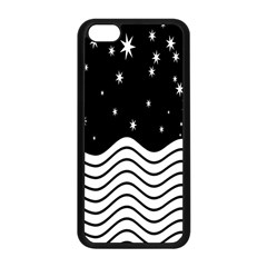 Black And White Waves And Stars Abstract Backdrop Clipart Apple Iphone 5c Seamless Case (black) by Nexatart
