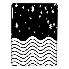 Black And White Waves And Stars Abstract Backdrop Clipart Ipad Air Hardshell Cases by Nexatart