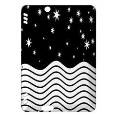 Black And White Waves And Stars Abstract Backdrop Clipart Kindle Fire Hdx Hardshell Case by Nexatart