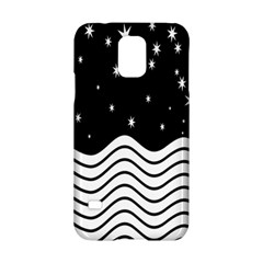 Black And White Waves And Stars Abstract Backdrop Clipart Samsung Galaxy S5 Hardshell Case  by Nexatart