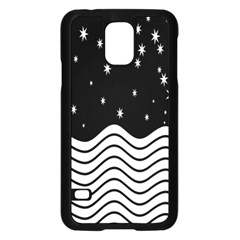Black And White Waves And Stars Abstract Backdrop Clipart Samsung Galaxy S5 Case (black) by Nexatart