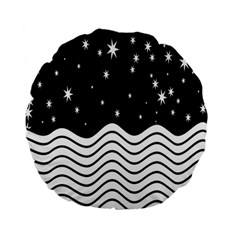 Black And White Waves And Stars Abstract Backdrop Clipart Standard 15  Premium Flano Round Cushions