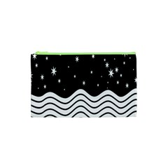 Black And White Waves And Stars Abstract Backdrop Clipart Cosmetic Bag (xs) by Nexatart