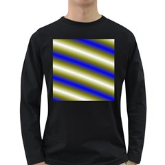 Color Diagonal Gradient Stripes Long Sleeve Dark T Shirts