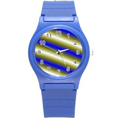 Color Diagonal Gradient Stripes Round Plastic Sport Watch (s) by Nexatart