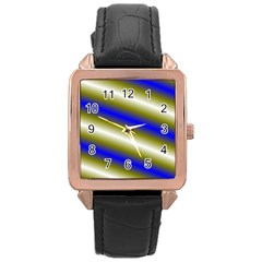 Color Diagonal Gradient Stripes Rose Gold Leather Watch