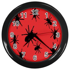 Illustration With Spiders Wall Clocks (black) by Nexatart