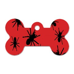 Illustration With Spiders Dog Tag Bone (two Sides)