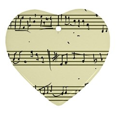 Music Notes On A Color Background Ornament (heart) by Nexatart
