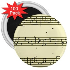 Music Notes On A Color Background 3  Magnets (100 Pack)
