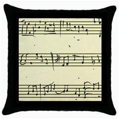 Music Notes On A Color Background Throw Pillow Case (black) by Nexatart