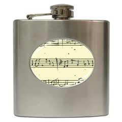 Music Notes On A Color Background Hip Flask (6 Oz)