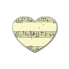 Music Notes On A Color Background Heart Coaster (4 Pack)  by Nexatart
