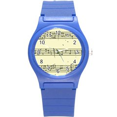 Music Notes On A Color Background Round Plastic Sport Watch (s) by Nexatart