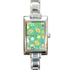 Football Kids Children Pattern Rectangle Italian Charm Watch by Nexatart