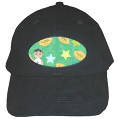 Football Kids Children Pattern Black Cap by Nexatart