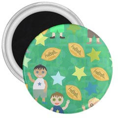 Football Kids Children Pattern 3  Magnets by Nexatart