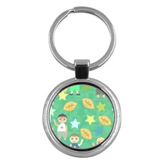 Football Kids Children Pattern Key Chains (round)  by Nexatart