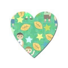 Football Kids Children Pattern Heart Magnet by Nexatart