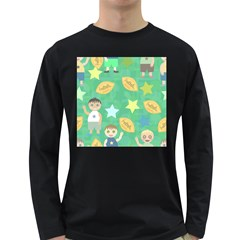 Football Kids Children Pattern Long Sleeve Dark T Shirts by Nexatart