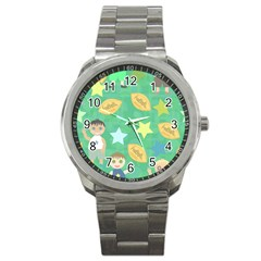 Football Kids Children Pattern Sport Metal Watch by Nexatart
