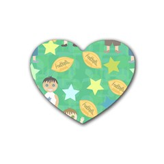 Football Kids Children Pattern Heart Coaster (4 Pack)