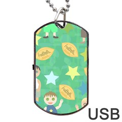 Football Kids Children Pattern Dog Tag Usb Flash (two Sides) by Nexatart