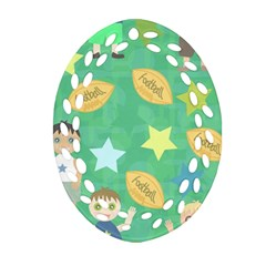 Football Kids Children Pattern Oval Filigree Ornament (two Sides)